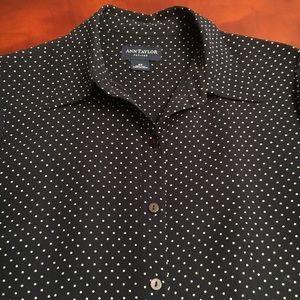 Ann Taylor polka dot silk buttoned shirt